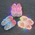 2017 nueva llegada mini melissa led luz niñas sandalias arco niños Zapatos de La Jalea de Melissa Zapatos de Flash LED Sandalias Antideslizantes de Alta calidad