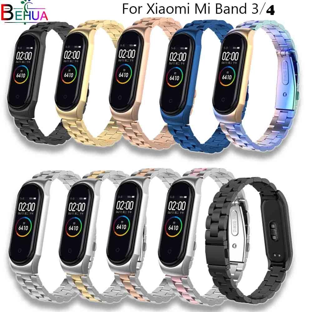 Bracelet pour xiaomi mi band 3 4 mi band 4 Bracelet de remplacement en métal Bracelet en acier inoxydable Bracelet bracelets + boîtier en métal