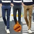 Otoño invierno nuevo algodón y lino pantalones casuales hombres de lana de negocios pequeños a cuadros rectos pantalones gruesos pantalones de terciopelo de oro de los hombres