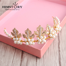 HIMSTORY  Gold Leaf with Pearl Bride Hair Accessory Crystal Hairwear Hairbands Wedding Bridal Jewelry Hair Accessories