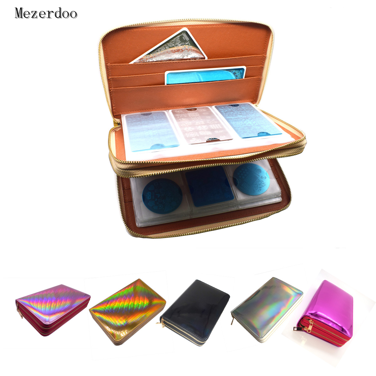 216Slots Nail Stamping Plate Holder Rainbow Laser Design Round Square Rectangular Manicure Nail Art Plate Organizer Empty Case216Slots Nail Stamping Plate Holder Rainbow Laser Design Round Square Rectangular Manicure Nail Art Plate Organizer Empty Case
