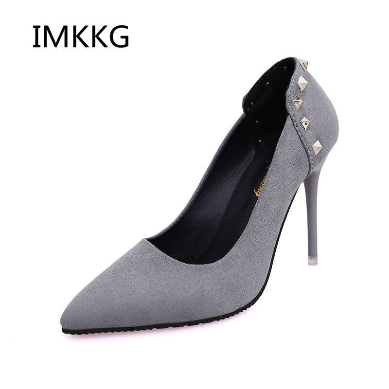 Pointu Loisirs S513 Rivet Mariage Bout Chaussures De Talons 2018 Haute Robe rouge gris Bateau Femmes Noir Tenis Suede Feminino Pompes taYxwqB