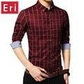 2017 New Autumn Shirts Mens Fashion Brand Clothes Slim Fit Long Sleeve Social Men's Shirt Plaid Cotton Casual Plus Size 5XL X388