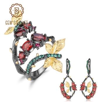 GEM'S BALLET 6.94Ct Natural Garnet Gemstone Jewelry Set For Women 925 Sterling Silver Handmade Original Ring Earrings Sets
