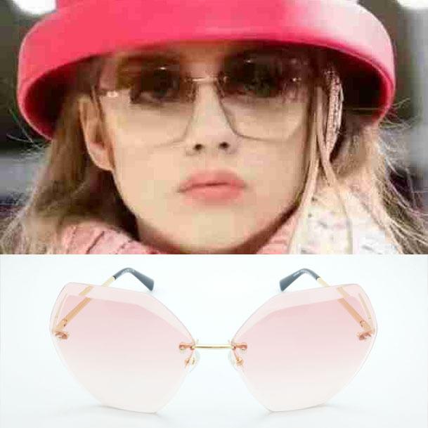 Venta caliente 2017 new gafas de sol mujeres diseñador de la marca de corte borde de la lente gafas de sol sin montura de la moda de marca gafas de sol de la señora gafas de sol