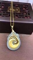 Bianco naturale HeTian Yu + Full Oro Intarsiato Intagliato Stile Antico Drago Fortunato Pendente Della Collana + Certificato Gioielli di Moda