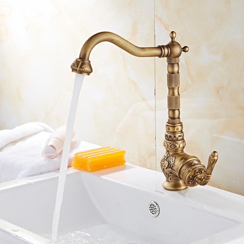 Retro Style Antique Brass Kitchen Faucet Hot & Cold Mixer Tap Single Hole Bathroon Rotatable crane