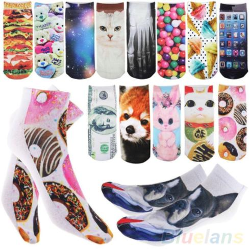 3D Printed Unisex Mens Womens Harajuku Style Cute Low Cut Ankle Socks  9DYL