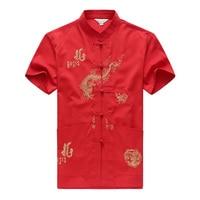 2019 Summer Red White Dragon Embroidery Men Shirt Mandarin Collar Shirts Fit Casual Short Sleeves Camisa Social Tang Shirts 4XL