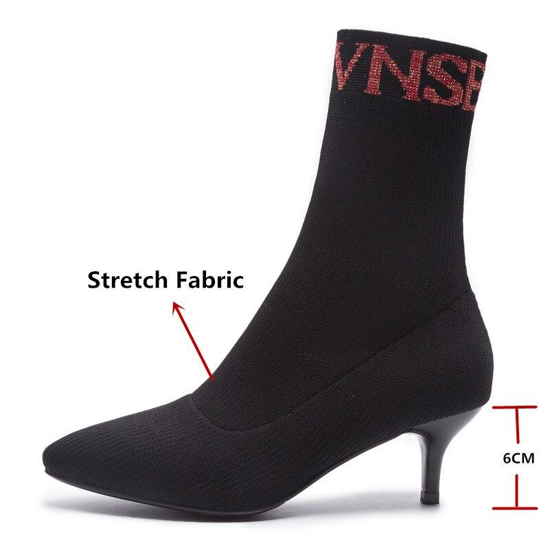Pointu Bout Mode Chaussures Nouvelle Bottes Chaud Noir Stretch mollet Mi 1 Arrivée Automne Femmes Femme Conasco Hiver Haute Talons Marque De wTIqnAtd