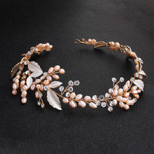 SLBRIDAL Golden Wired Rhinestones Crystal Freshwater Pearls Wedding Headband Bridal Hair Vine Accessories Women Jewelry