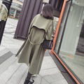 Long Woman's Coat Trench  2017 Spring autumn girl lady causal Fashion Female Overcoat With Belt New Double Breasted