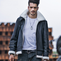 Mens New Style Shearling Sheepskin Coat B3 Bomber Jacket Short Section Blue And Camouflage Brown Fur Clothing