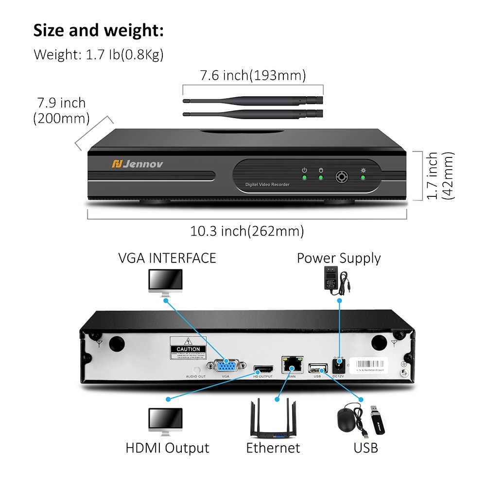 Jennov 5MP 4CH Беспроводной безопасности Камера Системы NVR комплект видеонаблюдения IP Камера на открытом воздухе, Wi-Fi, набор для видеонаблюдения H.265 аудио Системы