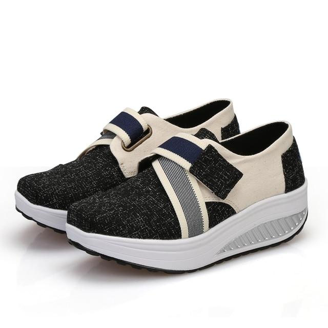 Womens Girls Slip On Wedge Sneakers Platform Canvas Toning Walking Fitness Shoes