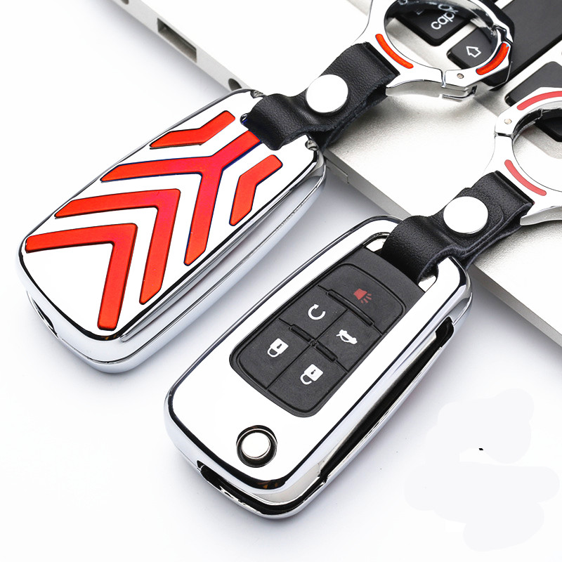 Wfmj Genuine Leather Remote 5 Buttons Key Chain Holder Cover Case Fob For Chevrolet Camaro Cruze Equinox Impala Malibu Ss Sonic Key Case For Car