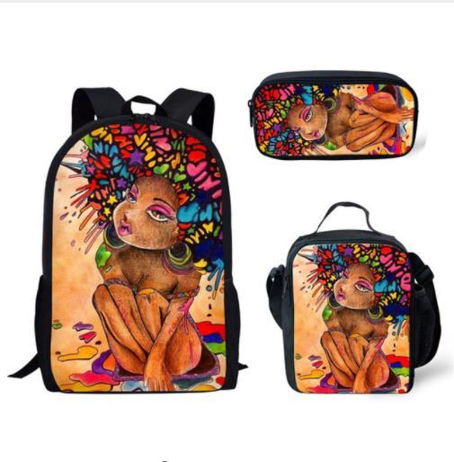 3pcs/set Afro lady with purple hair School Bags for Teenagers  2
