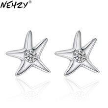 Pendientes de plata con circonita cúbica AAA para mujer, joyería de lujo, estrella de mar de cinco puntas, asimétricos