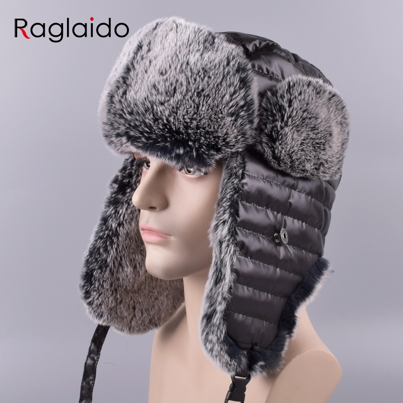 d6a4fa64d9c Raglaido Ushanka Hats made of fur Ear flap Men s Bomber Hats Winter Snow  Russian Panama Aviator hat LQ11200 R-in Bomber Hats from Apparel  Accessories on ...