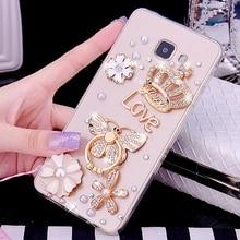 Bear Case Luxury Crown Flower Diamond Case For Samsung Galaxy J7 J5 J3 J6 J4 2018 2017 2016 Butterfly Case For Galaxy A5 A8 2018