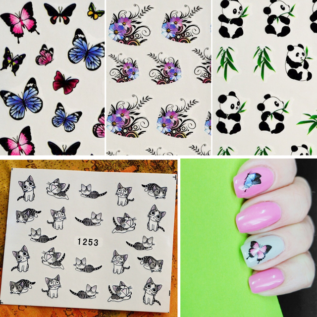 50sheets Mixed Designs Water Transfer Nail Art Sticker Watermark ...