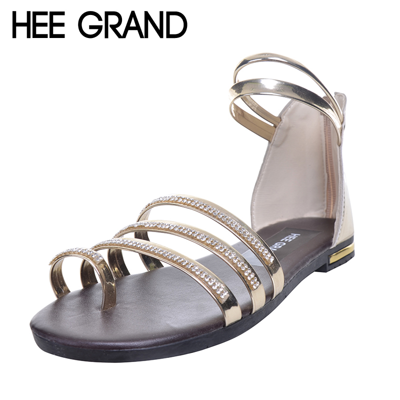 HEE GRAND Women Sandals Crystal Bling Gladiator Flip Flops Summer Casual Shoes For Woman XWZ3742 hee grand gladiator sandals summer style flip flops elegant platform shoes woman pearl wedges sandals casual women shoes xwz1937