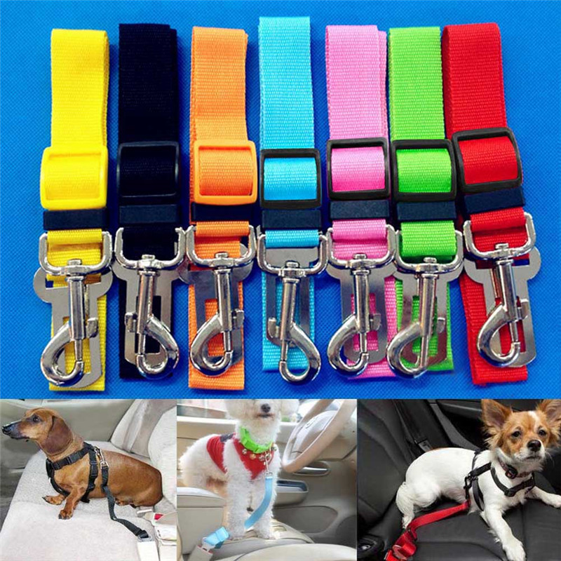 Newest Dog Collar Dogs Harness Cat Pet Safety Seatbelt Car Vehicle Seat Belt Adjustable Harness Lead Hot Sale
