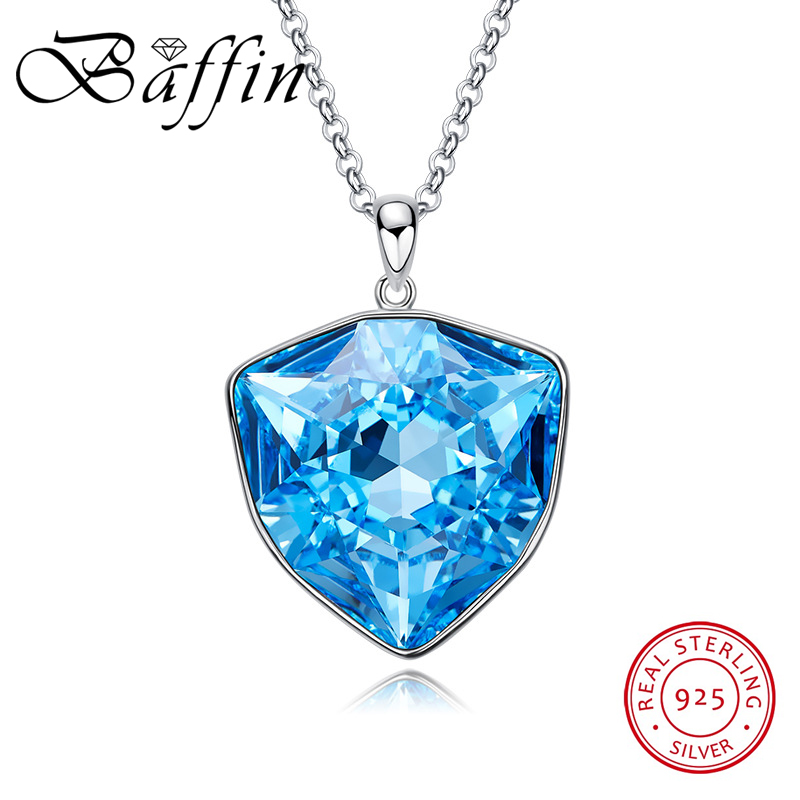 BAFFIN Original Crystals From SWAROVSKI Big Pendant Necklace S925 Silver Max Colar Luxury Chic Jewelry For Women Wedding Gifts joyashiny made with swarovski element crystals angel pendant necklace cute silver color wing jewelry chic gifts for kids girls