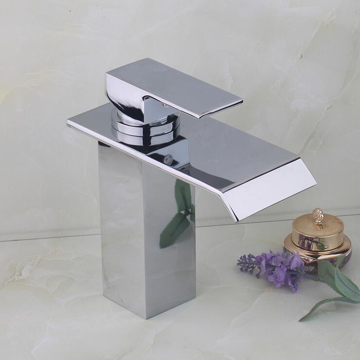 Bathroom chrome wash basin faucet waterfall, Brass sink basin faucet water tap, Copper single hole basin faucet hot and cold xogolo fashion waterfall faucet for bathroom chrome single hole basin faucet mixer new arrival cold and hot sink tap