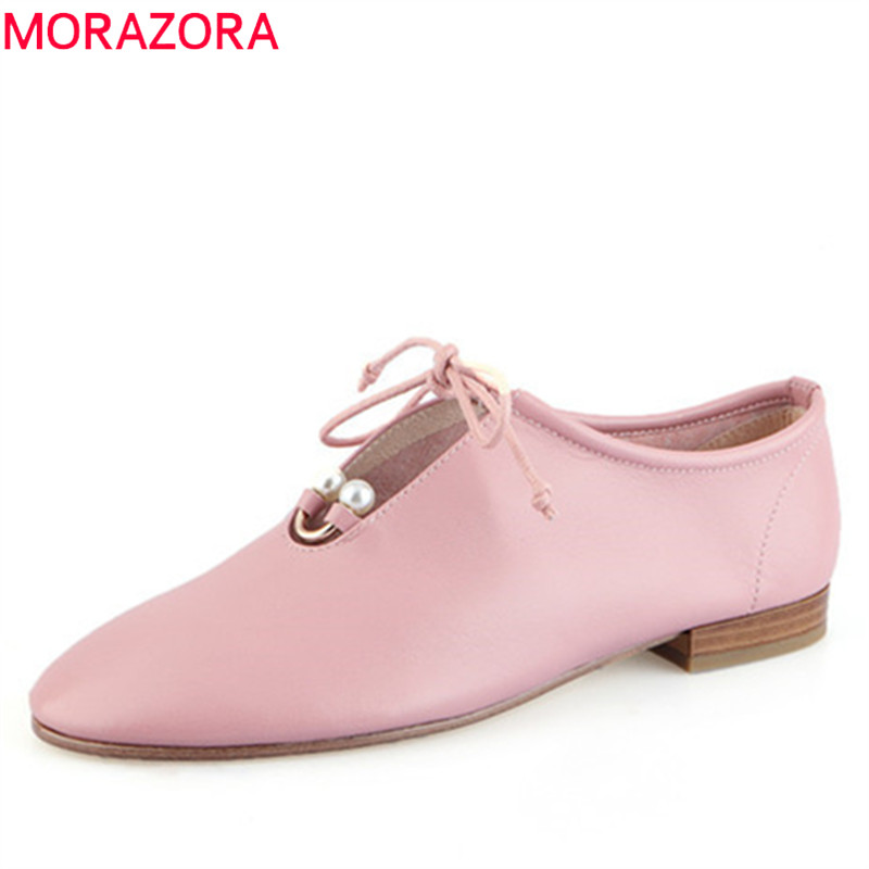 MORAZORA 2019 new arrival women flat shoes cow leather single shoes round toe lace up comfortable