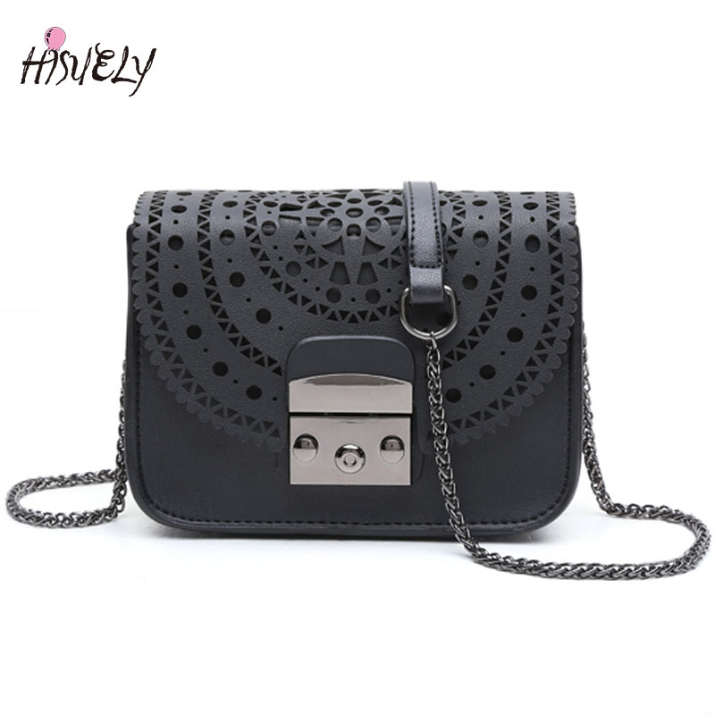 HISUELY Vintage Hollow Out Women Crossbody bags Ladies shoulder bags small casual Purse Designers Chain Handbag Fashion Solid simple hollow out triangle solid color body chain for women