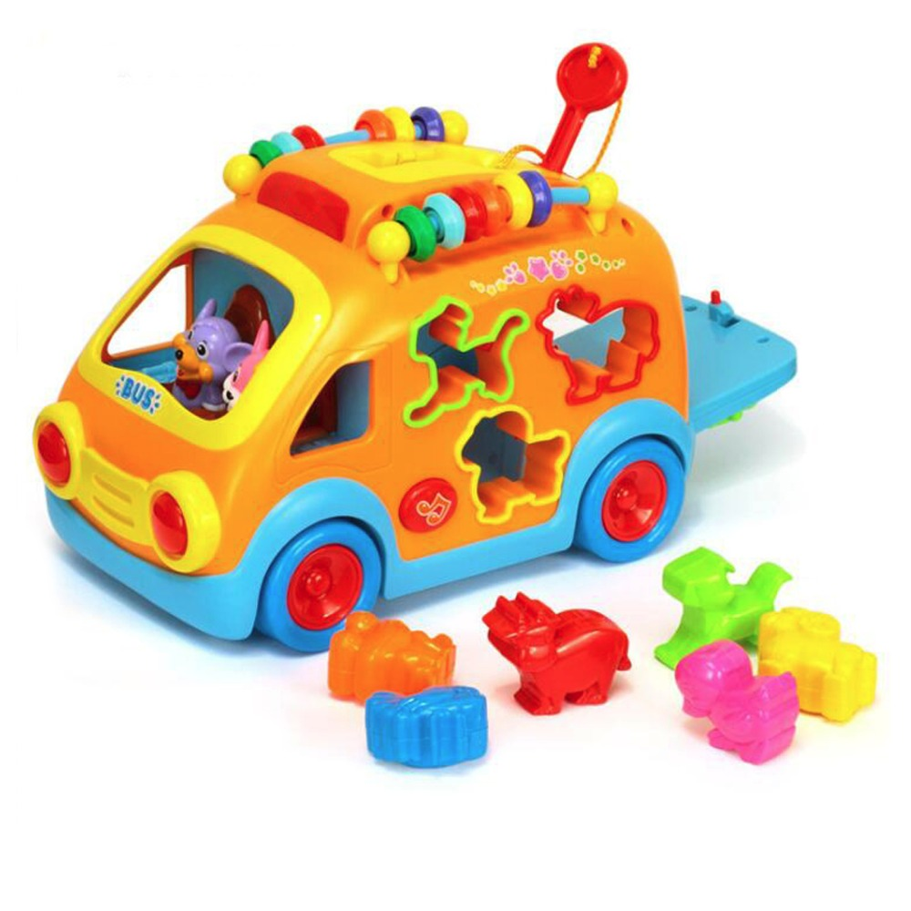 Cartoon Rabbit Car Animal Shape Sorter Gear Game Colorful Beads W/ Music Light Toy Car For Toddlers Children Gift infant shining swing car mute flash belting leather music environmental quality children s toy car