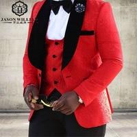 LN024 Brand New Groomsmen Shawl Lapel Groom Tuxedos Red/White/Black Men Suits Wedding Best Man Blazer (Jacket+Pants+Vest)
