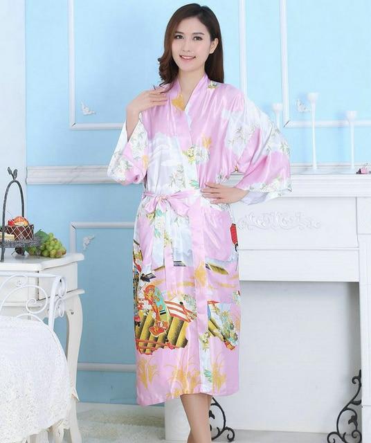 Лучшие Продажи Розовый Цвет Пижамы женские Халаты Невесты Японский Свободный Стиль Пижамы Халаты С Поясом Женщин Горячие