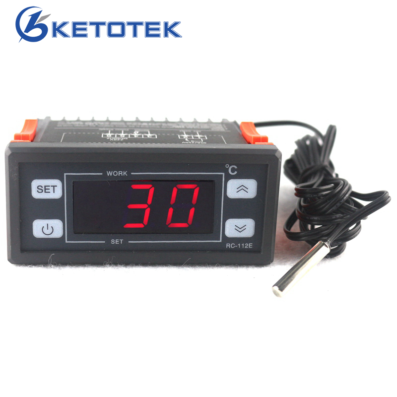 AC 220V 30A Digital Thermostat Temperature Regulator Controller with NTC sensor LED Display wsk301 48 48mm ac dc85 265v led digital display temperature and humidity controller with sensor