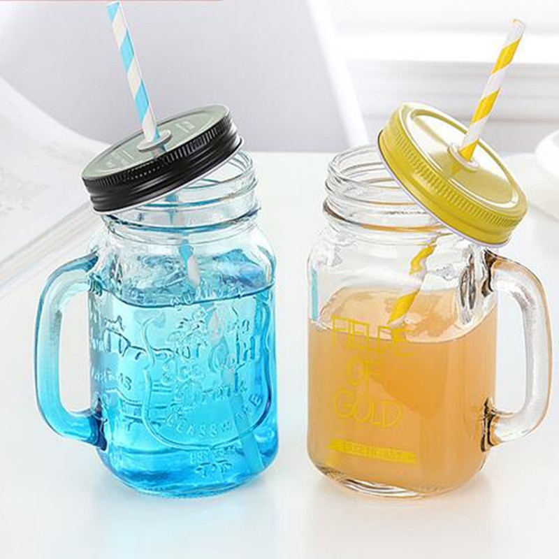 Glass Cup Summer Fruit Juice Icecream Clear Cold Drink Bottles Water Bottle Glass Jar Color Personality
