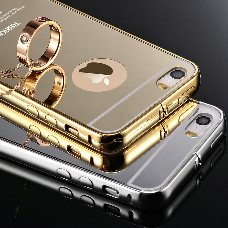Buy tomkas 5 5s luxury gold mirror view for Coque iphone 5 miroir
