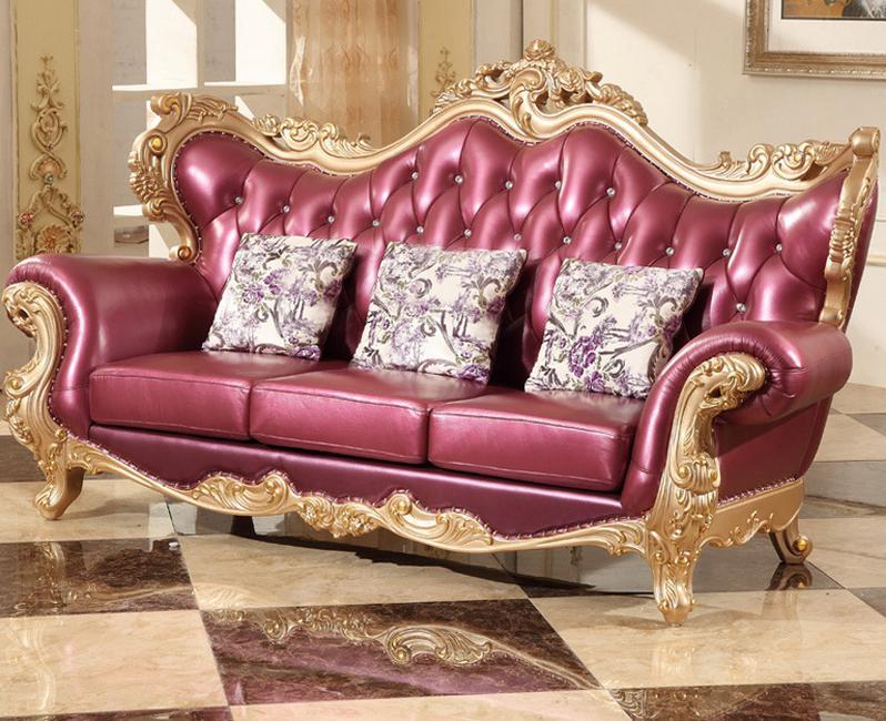 European Style Full Leather Sofa Set For Living Room In