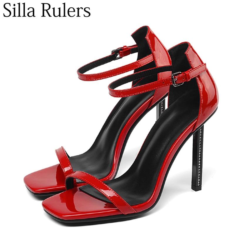 Nouveau Style Talon Talons Sandales Les Femmes Ouvert Bout Cuir 2019 Chaussures Pour Femme Véritable red Dames D'été En Acier Black Sangle Hauts Sexy À Une d5Aaqn8qwv