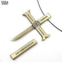VEIA Jewelry Anime ONE PIECE Necklace Dracule Mihawk Cross Alloy Pendant Necklace Friendship Men Women Anime Choker Accessories