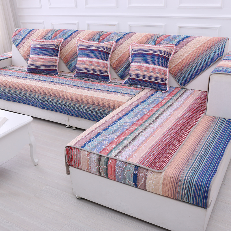 Colorful Striped Recliner Slip Cover Patterned Couch Covers ...