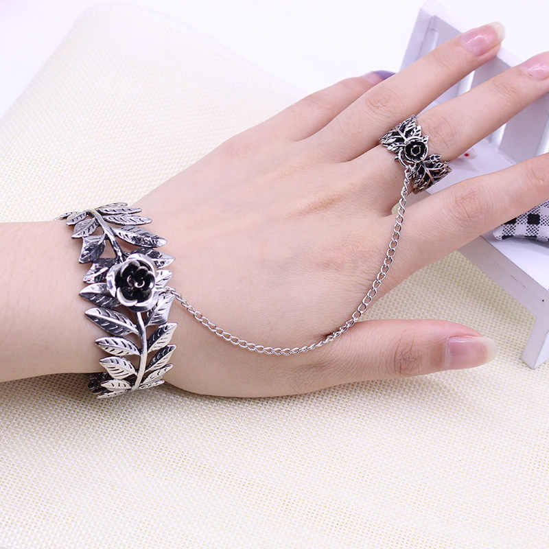 Bohemia Bracelets&Ring Women Antique Silver Color Bangle Cuff Bijoux Exquisite Crystal Hand Back Chain Indian Floral Jewelry Set