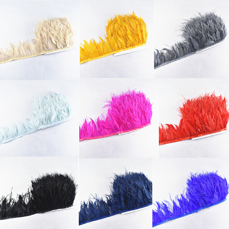 10meters ostrich feathers goose feathers ribbonTrims feather for crafts carnival costume feather DIY wedding decoration Plumes