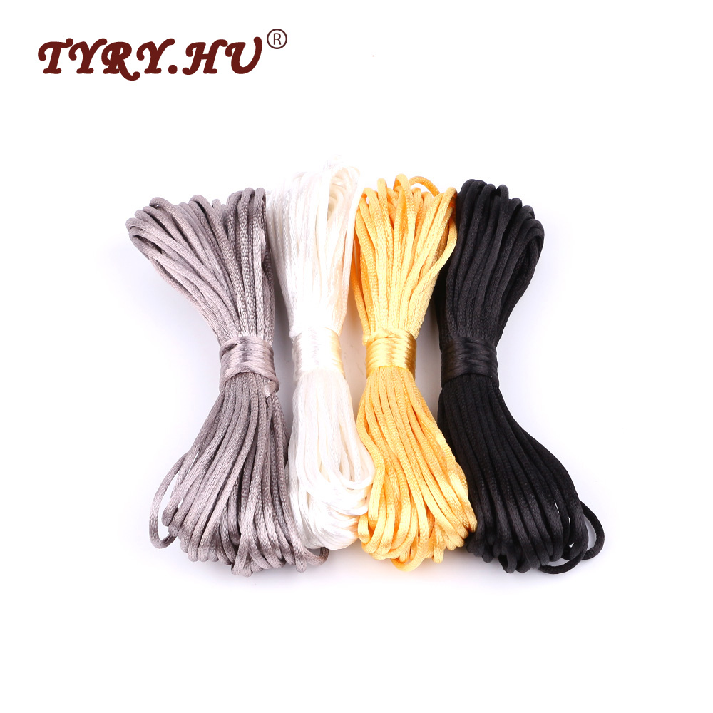 Tyry.hu Baby Teether Accessories 10m Satin Silk Rope 2mm Nylon Cord For Baby Mom Jewelry Making Teething Necklace Rattail Cord