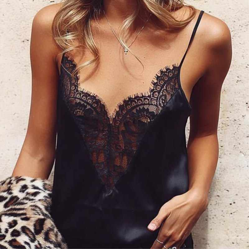 Wholesale Price Women Summer Sexy Lace Black Color Vest Top Sleeveless Casual Tank T-Shirt Size S-XL