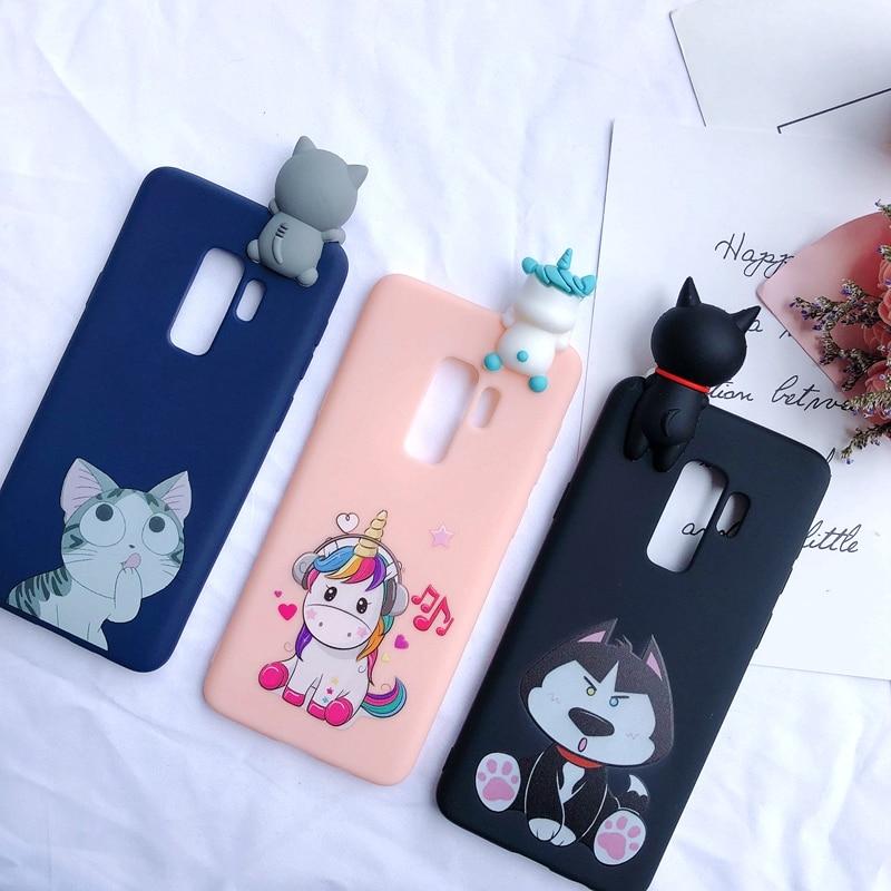 A6 A7 A8 A9 2018 3D Case for etui Samsung A7 A9 2018 Case Kawaii Unicorn Silicone Cover for Samsung Galaxy A6 A8 Plus Phone Case