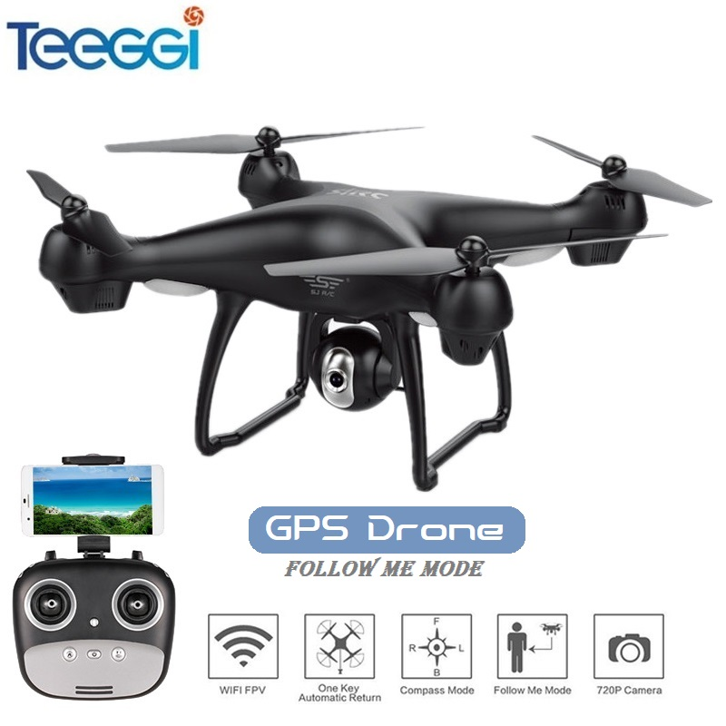 Teeggi S70W Follow Me Mode RC Drone with Adjustable FPV 1080P HD Camera GPS Professional Quadcopter Helicopter VS SYMA X8 Pro
