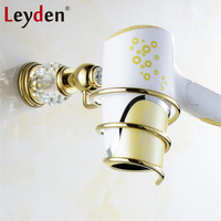 Leyden Luxury Golden Brass& Crystal Hair Dryer Rack Hairdryer European Royal Wall Mounted Hair Dryer Holder Bathroom Accessories