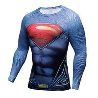 Compression Shirt Batman VS Superman 3D Printed T Shirts Men Raglan Long Sleeve Cosplay Costume Fit
