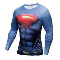 Camisa de compressão batman vs superman 3d impresso t-shirts homens raglan manga longa cosplay traje apto roupas fitness topos masculino